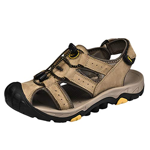 iHAZA Herren Sommer Neue Retro Flache Schuhe Hohle Einfarbige Atmungsaktive Sandalen