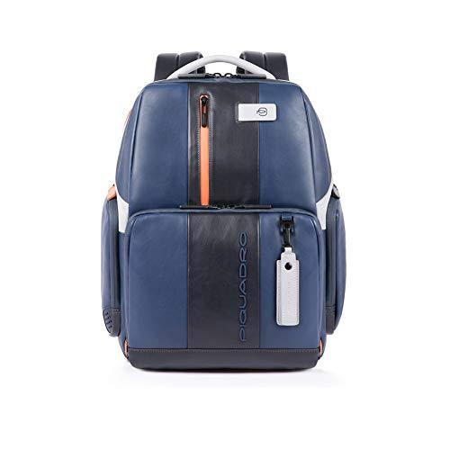 Piquadro Zaino Fast-Check Porta PC 15,6' iPad Tasca per CONNEQU e Anti-frode RFID 34x44x18cm Collezione Urban CA4532UB00/BLGR Blu e Grigio Dettagli Arancioni