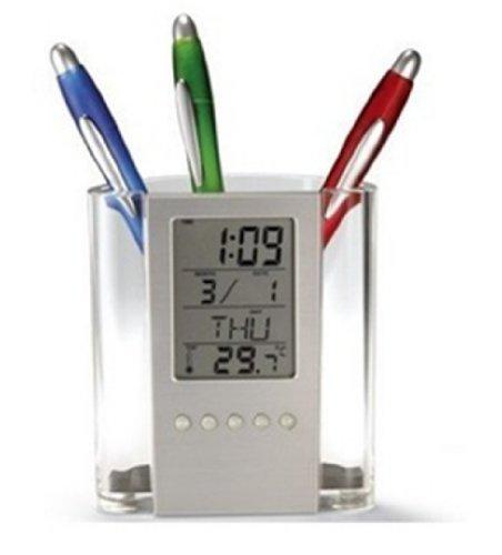 LED Stifthalter/Stiftbecher Multifunktional Thermometer/Wecker/Musik/Werbemittel