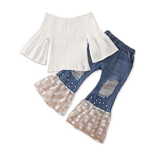 i-uend Kleinkind Baby Mädchen Schulterfrei Tops Neugeborene Mädchen Langarm Hemd + Tüll Zerrissene Jeans Schlaghosen Outfits 2 STÜCKE Für 1-6 Jahre