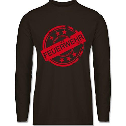 Feuerwehr - Badge Vintage Feuerwehr - Longsleeve / langärmeliges T-Shirt für Herren Braun