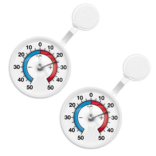 2 Stück Set Bimetall Analog Fenster , Außen , Klebe Thermometer . Fensterthermometer . Temperaturanzeige + / - 50 °C mit drehbarem Haltearm . Kunststoff Farbe weiss