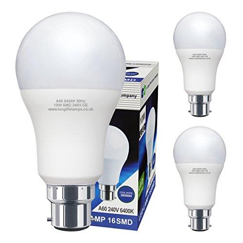 3 Pack 10w GLS LED Light Bulb Cool White B22 Bayonet Very Bright 10w = 100w A60