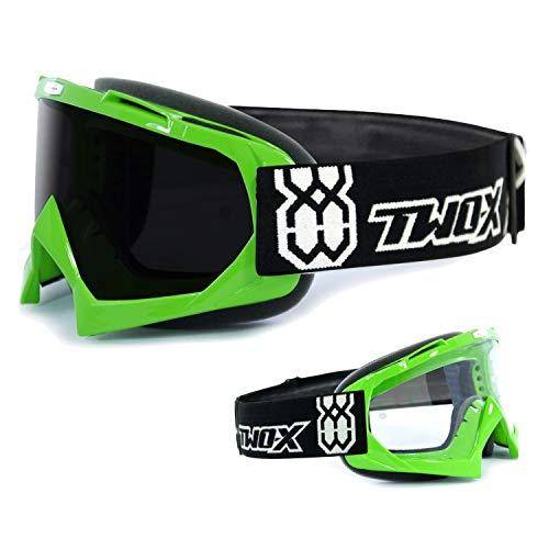 TWO-X Race Crossbrille grün Glas getönt schwarz grau MX Brille Motocross Enduro Motorradbrille Anti Scratch MX Schutzbrille