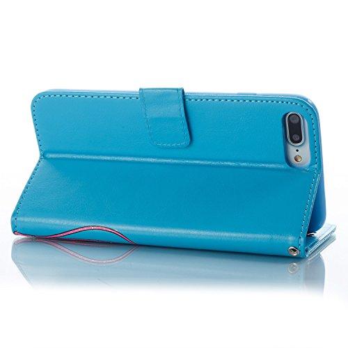 EKINHUI Case Cover Farbdruck Prägung Blumen Muster PU Leder Brieftasche Case Cover Tasche [Magnetverschluss] mit Card Slots & Lanyard & Halter & Kickstand Für iPhone 7 Plus ( Color : Gray ) Blue