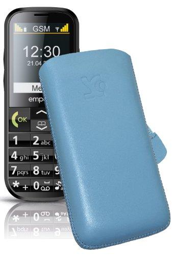 Original Suncase Tasche für Doro 5516 Leder Etui Handytasche Ledertasche Schutzhülle Case Hülle Lasche mit Rückzugfunktion* In Blau