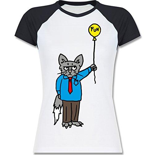 Nerds Geeks Workaholic cat zweifarbiges Baseballshirt / Raglan TShirt für  Damen Weiß/Navy Blau