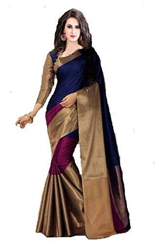 PerfectBlue Cotton Silk Saree with Blouse Piece (Pb0Navybluepinkborder_Black_Free Size)