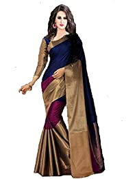 PerfectBlue Cotton Silk Saree with Blouse Piece