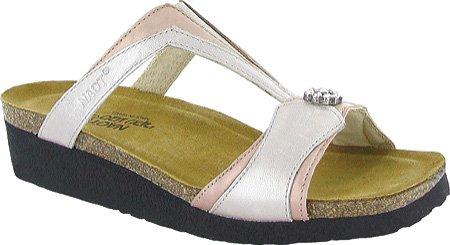 Naot Damen Schuhe Pantoletten Leder Teresa silber/grau 6499 Fußbett gepolstert natur quartz
