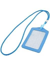 sourcingmap® Simili cuir Désign vertical Bureau Business Carte crédit bleu porte-badge