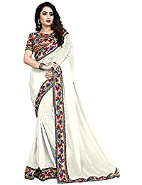 DIYA Fashion Women's Georgette Saree With Blouse Piece (White Peacock With Hand Work)