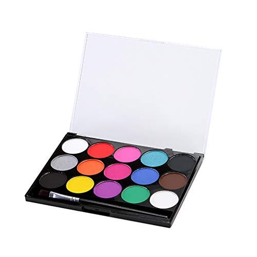 Laileya 15 Farben Wasserlöslichkeit Pigment Sicher Umweltgesichts Body Paint Kit für Drama Theater Perform