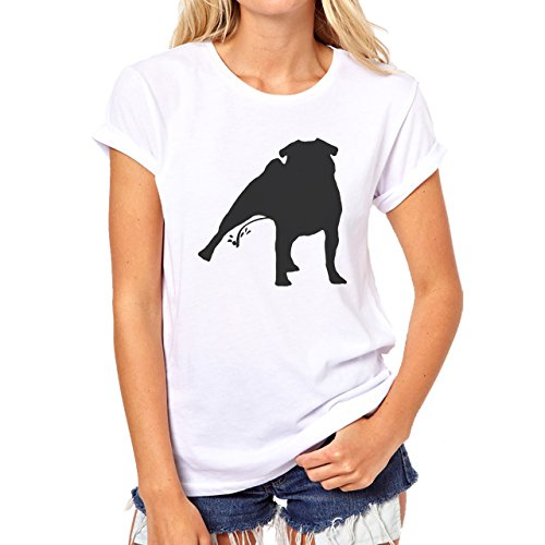 Pug Dog Peeing Black Funny Damen T-Shirt Weiß