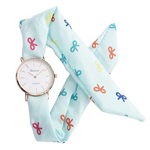 SHE.White Uhren Damen, Geflochten Armbanduhren Casual Streifen Blumentuch Quarz Vorwahlknopf Armband Armbanduhr Armband Lederarmband Mädchen Frau Uhr