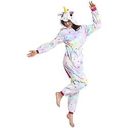 Mystery&Melody Unicornio Pijamas Cosplay Star Disfraces Franela Animales Cremallera Ropa de Dormir Trajes de Fiesta