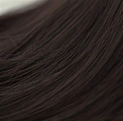 Perücke Weibliche lange lockiges Haar Big Wave Fluffy natürlicher lange glatte Haare Air Bangs nette kurzes, krauses Haar (Color : Brown Black) -