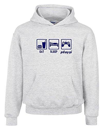 Kinder Sweatshirt Mit Kapuze (EAT SLEEP PLAYSI Kinder Sweatshirt mit Kapuze HOODIE GRAU-navy, Gr.152cm)