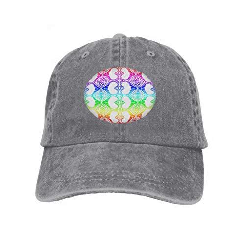 Unisex Adult Baseball Cap Trucker Hat Cowboy Hat Hip Hop Sports Snapback Colorful Rainbow Colors Hearts Heart Distribution Pattern ti Gray