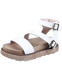 LINNUO Sandalias de Mujer Plataforma de Cuero de Imitación Zapato de Romanas Cuña Slingback Zapatos de Verano...