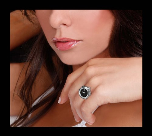 Davis 4185 – Womens Finger Ring Watch Black Dial Sapphire Glass Adjustable