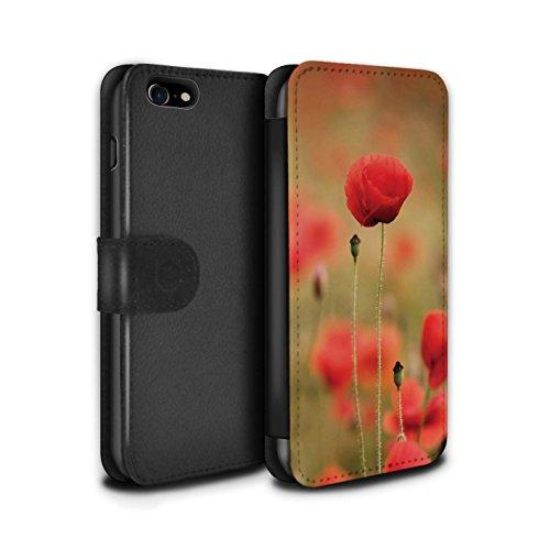 STUFF4 PU-Leder Hülle/Case/Tasche/Cover für Apple iPhone 5/5S / Sonneneinstrahlung Muster / Mohnblumen Kollektion Im Fokus