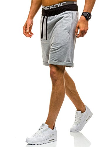 BOLF – Uomo Pantaloncini Bermude Shorts Sport Jogging Pantaloncini Fitness 7G7 ordinario Grigio
