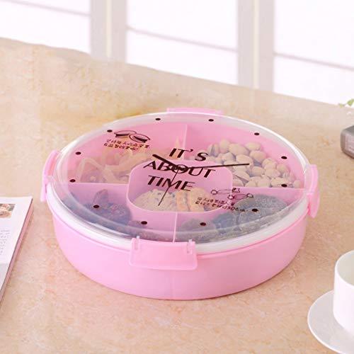 GONGFF European Style Modern Home Trockenobstteller Wohnzimmer Snack Pralinenschachtel Kunststoffabdeckung Sub - Grid Sealed Nuts Box (Farbe: Pink) (Nuts-box)