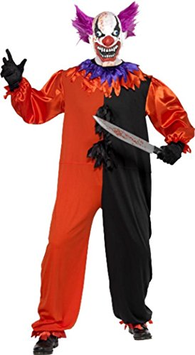 Halloween Herren Fancy Kleid Cirque Sinister Scary Bo Bo der Clown Kostüm Gr. XL , multi