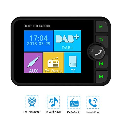 "omufipw 2,4\""Auto DAB Radio Adapter Tuner, USB Bluetooth FM Sender, AUX Adapter BT Music Receiver"