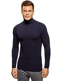 oodji Ultra Hombre Suéter de Cuello Alto Básico Ajustado