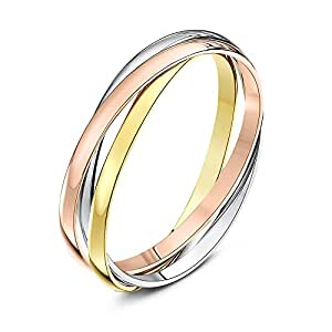 Theia Unisex Highly Polished 9 ct Rose, White and Yellow Gold 2 mm Russian Wedding Ring - Size H