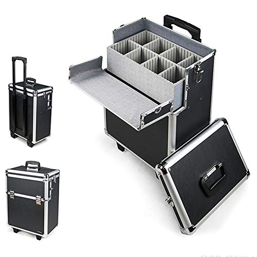 Vetrineinrete Trolley da trucco make up cosmetici valigia per cosmetici nail art con 8 scomparti e ruote cofanetto beauty case per estetista truccatrice 53170 D27