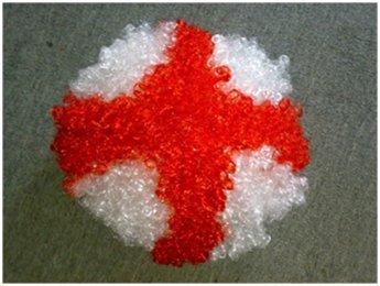 Rot & Weiß ST GEORGE KREUZ/Englisch Flagge England Supporters Erwachsene Afro Perücke (George Englische Flagge)