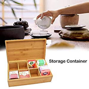 EZIZB Boîte à thé décorative en Bambou avec 8 Compartiments pour Le Rangement des sachets de thé et Autres accessoiress - 24x15x7cm