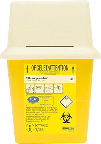 Sharpsafe Behälter für fhshar35Praxis Nadel Bin, 4Liter Fassungsvermögen, 245mm Höhe 175mm x 175mm länge X Breite, Gelb (50Stück)