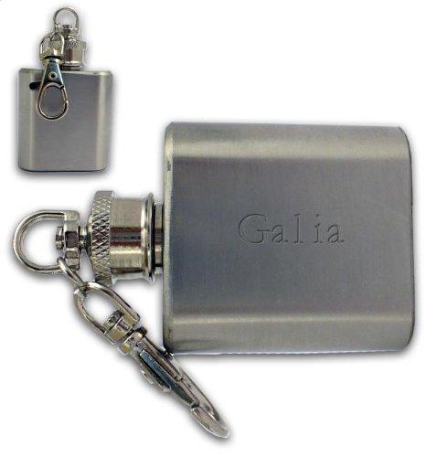 Kundenspezifische gravierte Flasche Schlüsselanhänger mit dem Aufschrift Galia (Vorname/Zuname/Spitzname)