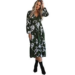 Holacha Boho Vestido Largo de Manga Larga de Algodón Patron de Flor Moda Casual para Mujeres (L, Verde)