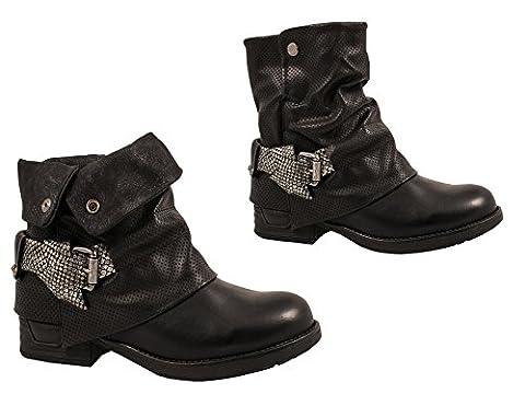 Femmes bottines bottes motarda rivets verni bottes, noir-39
