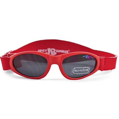 Juicy Bumbles Sonnenbrille Baby mit verstellbarem Neopren-Kopfband und Aufbewahrungsetui - 100% UV-Schutz - 3 bis 18 Monate - Rot
