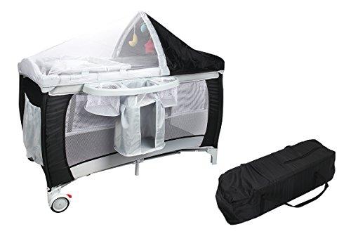 COSTWAY Babybett Reisebett Klappbett Babyreisebett Kinderbett Kinderreisebett Laufstall + Wickelauflage mit Schaukelfunktion (schwarz)