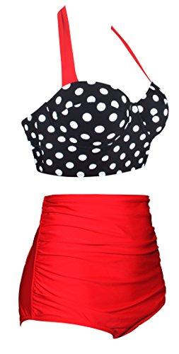 EasyMy Damen High Taille Bikini Sets Vintage Bademode, Schwarz, EU 42-44Tag Size 2XL - 2