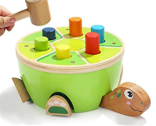 BALOO SPIELE. Reaktionsfähige Holz Schildkröte mit Hammer und Schlag-Bank. Liebenswertes Holzspielzeug für Kinder