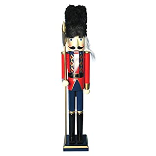 The Christmas Workshop 81570 30cm Tall Wooden Soldier Nutcracker on Stand, Multi-Colour