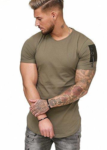 Code47 Oversize Herren Vintage T-Shirt Basic Shirt Round Neck Zipper Khaki L
