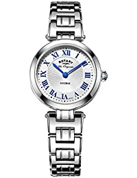 Rotary Women's Quartz Watch with White Dial Analogue Display and Silver Stainless Steel Bracelet LB90186/01