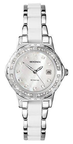 - 41aH4FXC8fL - Sekonda Moonlight 4674  Pearl Ladies White Crystal Set Watch
