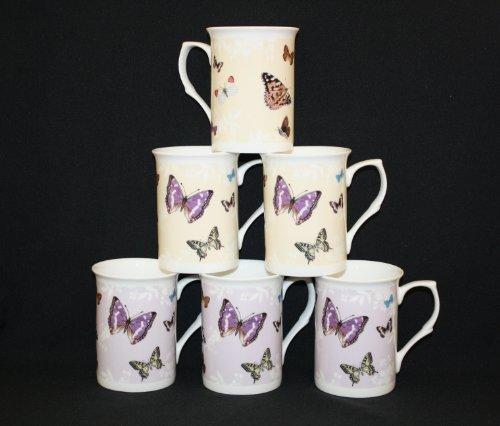 set-of-6-fine-bone-china-wildlife-butterfly-butterflies-mugs-cups-beakers-gift-set