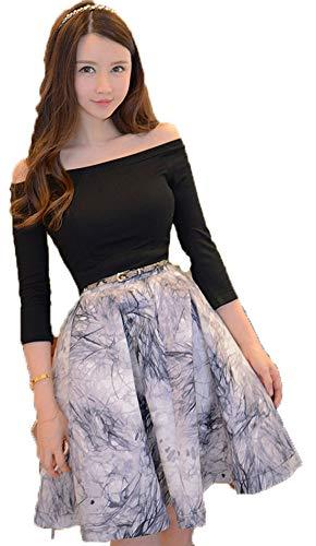 JRhong Modisch Carmen-Ausschnitt Strickpullover Schwingender Faltenrock Taillenband Print Rock Zweiteilig Kleider