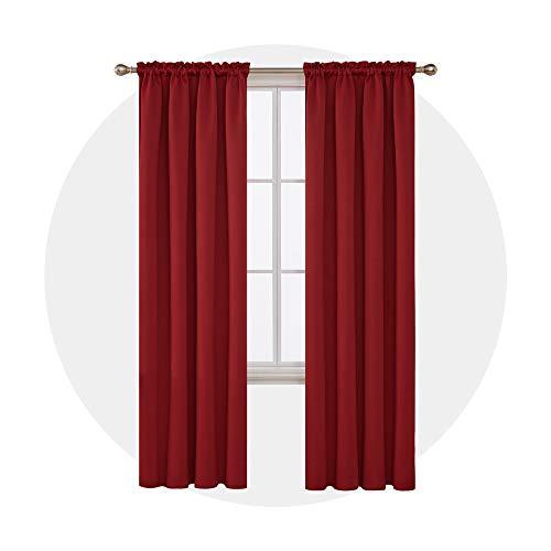 Deconovo tende oscuranti per interni termiche isolanti con passanti per casa moderne 132x214cm 2 pannelli rosso